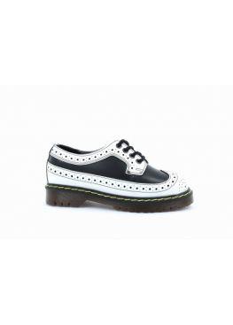 Низькі жіночі черевики Steel чорно-білі на 4 дірки 112/AL/F.WHT-B