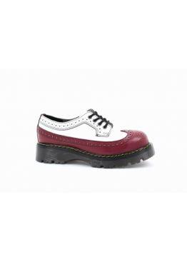 Низькі жіночі черевики Steel червоно-білі на 4 дірки 112/CL/F.RED-F.WHT