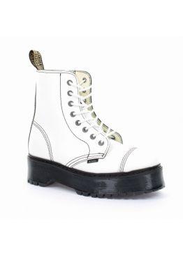 Середні черевики Steel білі на 8 дірок 113/ALS-CZ3/F.WHT