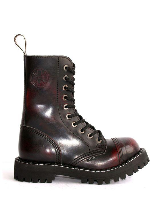 Высокие ботинки Steel бордово-черные с эффектом затертости 10 дырок 105/106/O/R заказать online