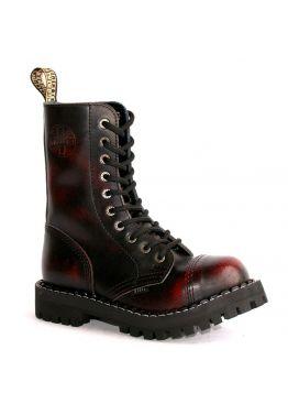 Высокие ботинки Steel бордово-черные с эффектом затертости 10 дырок 105/106/O/R