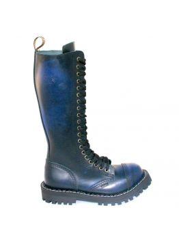 Високі черевики Steel сині з ефектом затертості на 20 дірок