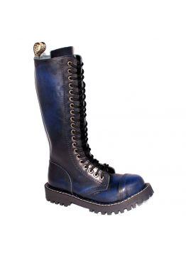 Высокие ботинки Steel синие с эффектом затертости 20 дырок 139-140/O/BLU/B