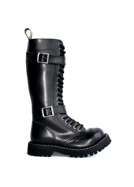 Высокие ботинки Steel черные с ремешками 20 дырок 139/140/O/2P(2,5)/Z/B