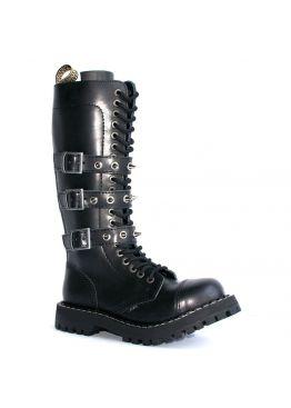 Высокие ботинки Steel черные с 3 ремнями 20 дырок 139/140/O/3P345SPIZ/B-40