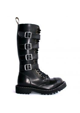 Высокие ботинки Steel черные с 4 ремнями 20 дырок 139/140/O/4P(2,3,4,5)/Z/B