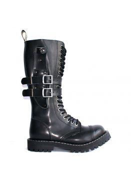 Высокие ботинки Steel черные 20 дырок с ремнями и чехлом для ножа 139/140/O/KNIFE/Z/B