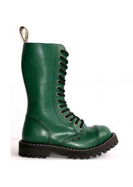 Высокие ботинки Steel зеленые 15 дырок 135/136/O/F.GRE