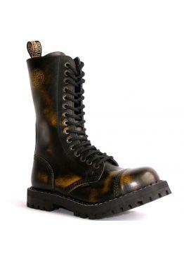 Высокие ботинки Steel оранжево-черные с эффектом затертости 15 дырок 135/136/O/Y