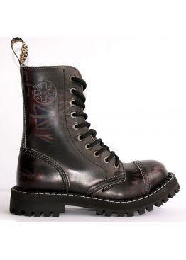 Високі черевики Steel чорні з ефектом затертості на 10 дірок