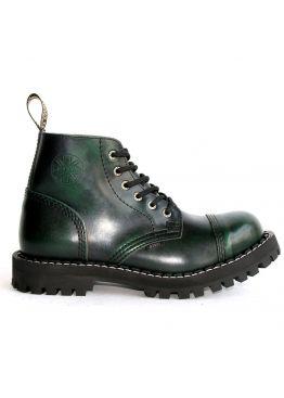 Середні черевики Steel зелені з ефектом затертості на 6 дірок