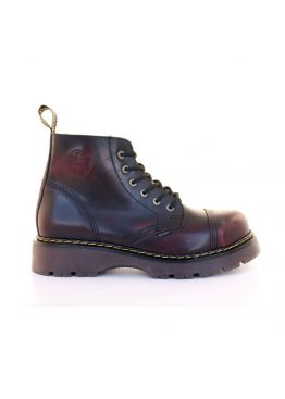 Средние ботинки Steel бордово-черные с эффектом затертости 6 дырок 127-128/CL/RED/B