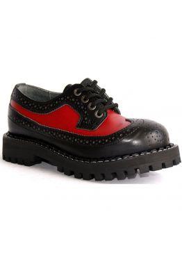 Низькі жіночі черевики Steel чорно-червоні на 4 дірки