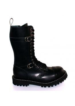 Высокие ботинки Steel черные с пряжками 15 дырок 151/152/O/Z/B