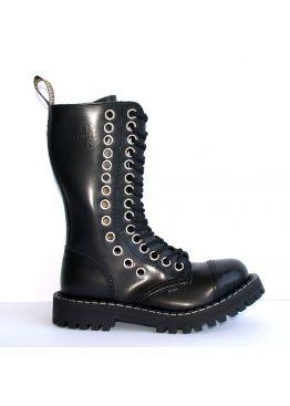 Высокие ботинки Steel черные с рядом больших люверсов 15 дырок 135/136/O/2 BIGEY