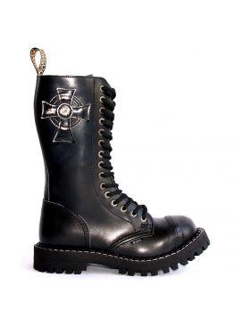 Высокие ботинки Steel черные 15 дырок с крестом 135/136/O/CRO/B
