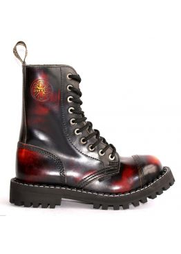 Высокие ботинки Steel бордово-черные с эффектом затертости 10 дырок 105/106/O/Y/R/B