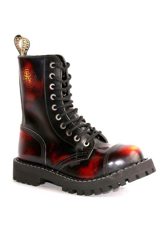 Высокие ботинки Steel бордово-черные с эффектом затертости 10 дырок 105/106/O/Y/R/B заказать online