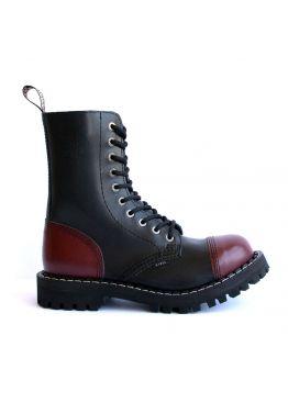 Високі черевики Steel чорно-бордові на 10 дірок