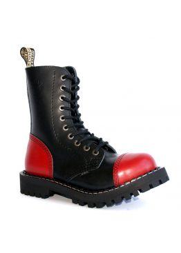 Высокие ботинки Steel черно-красные 10 дырок 05/106/O/F. RED-B