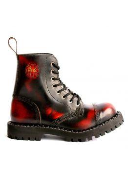 Средние ботинки Steel бордово-черные с эффектом затертости 8 дырок 113/114/O/Y/R/B