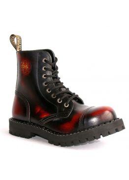 Середні черевики Steel бордово-чорні з ефектом затертості на 8 дірок