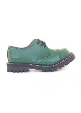 Низькі жіночі черевики Steel зелені на 3 дірки