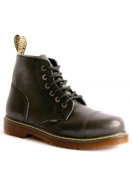 Середні черевики Steel чорні з ефектом затертості на 6 дірок