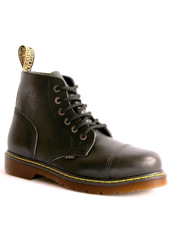 Середні черевики Steel чорні з ефектом затертості на 6 дірок замовити online
