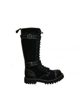 Черные высокие ботинки Steel черные с 2 ремнями 20 дырок 139-140/O/2P(2,5)/Z/B/W10