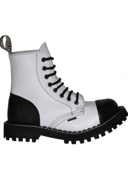 Средние ботинки Steel черно-белые 8 дырок 113-114/O/B-F. WHT